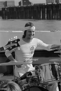Drummer Chris Slade from Manfred Mann's Earth Band performs live at a press event on a pleasure boat on the river Thames in London on 18th October 1973.