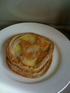 Friday 4/6/12 breakfast!  Apple pancakes ... Made these with homemade egg-beaters and just a drizzle of SF syrup. Tasted great to me.