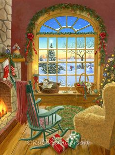 Cozy Christmas Cat - The cat is not the only cozy thing about this scene by artist Ruth Sanderson. A beautifully decorated Christmas tree sparkles in one. Vintage Christmas Images, Christmas Scenes, Christmas Past, Country Christmas, Christmas Pictures, Winter Christmas, Vintage Holiday, Christmas Windows, Xmas