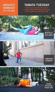 Greatist Workout of the Day: Tuesday, June 24th- 4 min Tabata of bike crunches, jumping lunges, hand-release push-ups