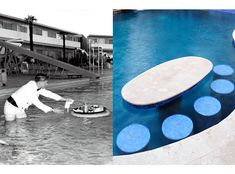 Throwback Thursday - swim-up bars became the rage in the 1950's when the Flamingo Hotel (left) started serving drinks IN the pool. Today bar tables and stools are part of the many accessories available to convert into a resort in your own backyard. Read more about the history of swim-up bars by clicking https://platinumpools.com/swim-bar-whos-idea/  #swimmingpools  #spas  #swimupbar  #custompoolshouston  #platinumpoolstexas