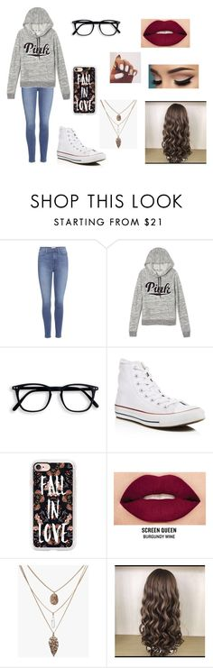 """""""nerdy day at school"""" by ashley-barnhart ❤ liked on Polyvore featuring Paige Denim, Victoria's Secret, Converse, Casetify and Smashbox"""