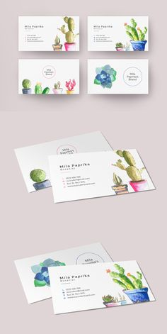 Watercolor Succulent Business Card is the cutest card template ever.  If you would like to get the rest of this beautiful watercolor succulent collection here is the link: http://crmrkt.com/qVBWAp Created by SlideStation on @creativemarket #succulent #businesscard #watercolor