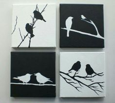 Love Birds Black and White Set of 4 Canvases Children Art Wall Decor Ready to Hang tolle schwarz-weiß Vögel mit Acryl gemalt; Original acrylic painting Black & White Love Birds by EditVorosArt, Bird Painting Acrylic, Love Birds Painting, Black Art Painting, Painting Walls, Diy Canvas, Wall Canvas, Canvas Art, Bedroom Art, Abstract Canvas