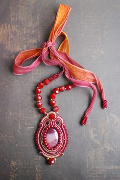 Soutache pendant, Gold and burgundy pendant with mookaite, Soutache jewelry, Embroidered pendant, Beaded pendant, Gift for her FREE SHIPPING