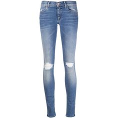 Mother Hi Rise Ripped Skinny Jean ($195) ❤ liked on Polyvore featuring jeans, pants, bottoms, pantalones, denim, kirna zabete, destructed jeans, ripped jeans, distressed skinny jeans and ripped blue jeans