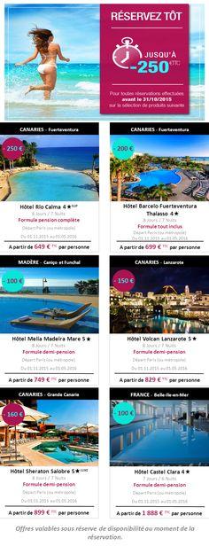 Découvrez les offres de rentrée de notre partenaire Thalasso N°1 et réservez vos prochaines vacances auprès de nos conseillères en voyages. Les Canaries ou Belle île en mer, à vous de choisir !  Pour obtenir des précisions ou réservez votre séjour, n'hésitez pas à contacter nos agences : BLB Tourisme d'Auray par téléphone au …