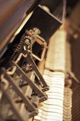 The inner mechanism of a vintage automatic piano. Vertical close-up shallow depth of field shot. Piano, Shallow Depth Of Field, Close Up, Music Instruments, Vintage, Pianos, Musical Instruments