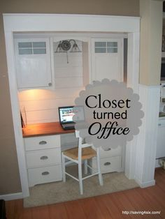 Closet Office Space-Great Idea for those who really don't have the space, but would love there own little area.