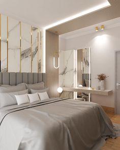 Smart Home Design, Small House Interior Design, Home Room Design, Grey Bedroom Decor, Bedroom Bed Design, Bedroom Layouts, Room Ideas Bedroom, Contemporary Bedroom, Modern Bedroom