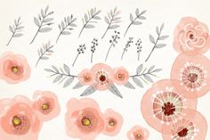 Watercolor blush pink wreath diy by GrafikBoutique on Creative Market