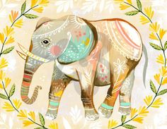 Like a ray of sunshine, this wild flower elephant will brighten your room. Katie Daisy's framed giclee art prints are full of intricate details reminding us of the beauty of nature. Your daughter, young or old, will adore this animal artwork for years on end. #oopsydaisy #oopsydaisyart