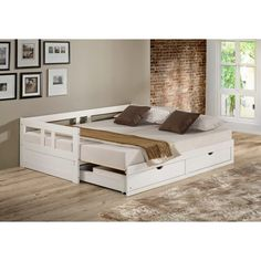 Shop Melody Twin to King Trundle Daybed with Storage Drawers - On Sale - Free Shipping Today - Overstock - 18105338 - White