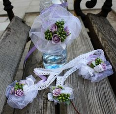 for a wedding in purple and green