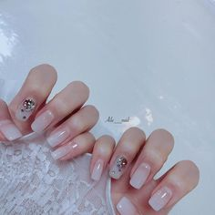 Korean Nail Art, Korean Nails, Gel Manicure, Simple Nails, Nail Inspo, Trendy Nails, Hair And Nails, Nail Designs, Shapes