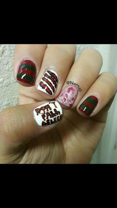 My Freddie Krueger Inspired Nails Nails In 2019 Halloween Nail Designs Halloween Nails