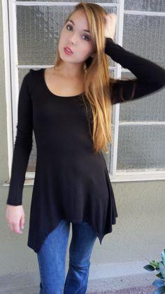 Elizabeth Long Sleeve Sharkbite Tunic Black $12