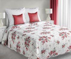 Bielo-červený prehoz Plant je dostupný v dvoch rozmeroch: 170x210 alebo 220x240 cm.