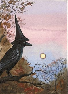 Raven Crow Ryta Witch Halloween Folk At Print of Painting Moon Whimsical Crow Art, Raven Art, The Raven, Retro Halloween, Halloween Raven, Halloween Prints, Postcard Printing, Crows Ravens, Witch Art