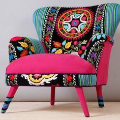 Suzani armchair - pink sky
