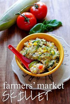 farmers' market skillet: fresh veggies, basil, feta cheese, and quinoa + lemon dressing.