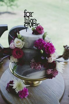 "Grey marble fondant wedding cake with pink flowers and ""For Like Ever"" cake topper 