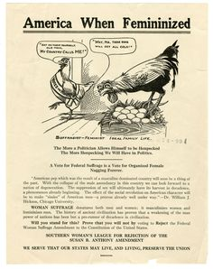 "America When Femininized. In this Anti-Suffrage cartoon, Mother hen walks out on her eggs leaving the rooster to set them.  Giving women the right to vote would make men ""sissies"" and doom civilization."