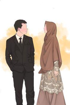 Wedding Couple Cartoon, Love Cartoon Couple, Cute Couple Art, Cute Muslim Couples, Romantic Couples, Cute Couples, Romantic Weddings, Islamic Cartoon, Anime Muslim