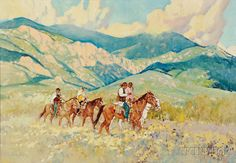 """""""Taos Riders,"""" Ross Stefan, oil on canvas, 28 1/4 x 40 1/4"""", private collection."""