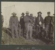 'At Snake Plains' waiting on Half-Breed Commission 1900 ~ Jacob Johnstone (Kahkeekapow) with sash Source: Sask Arch