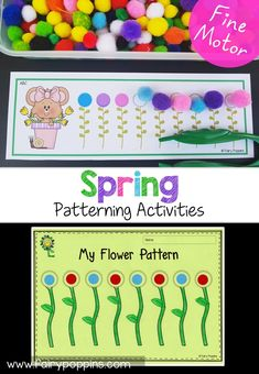 Fun Spring Patterning Activities for kids to work on this spring! Cute for a flower or garden unit with preschool and kindergarten kids! #finemotor #springfreebies #freeprintables