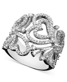 Effy Collection Diamond Ring, 14k White Gold Heart (9/10 ct. t.w.)