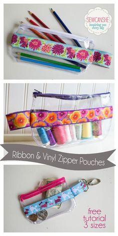 trousse en plastique et ruban patron gratuit / (9) Name: 'Sewing : Ribbon and Vinyl Zipper Pouches