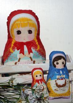 """Русские красавицы"" - подушка,подушка декоративная,матрешка,матрешки,кукла текстильная"