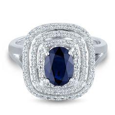 1/4 ct. tw. Diamond & Sapphire Ring in 14K Gold