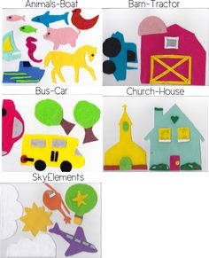 DIY felt board for kids with printable templates features a tutorial for making your own DIY felt board for kids with a cute scene with houses, cars, animals, clouds and more.