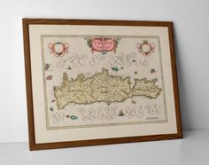 Old Map of Crete, originally created by Willem Janszoon Blaeu, now available as a 'museum quality' Gift print. Old World Maps, Vintage World Maps, Greek Islands Map, Creta, Historical Maps, Travel Posters, Giclee Print, Greece, Framed Prints