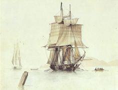 Becalmed privateer. Possibly the Babiole, a privateer built in La Ciotat in the very early 19th century. 1806, Ange-Joseph-Antoine Roux (1765–1835)