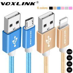 VOXLINK 1 м/2 м/3 м Нейлон Плетеный Кабель Micro Usb Зарядки Синхронизации Данных USB Кабель для iphone 7 6 6 s Плюс 5S ipad mini Samsung HTC LG