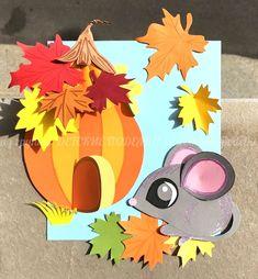 Аппликация Мышка тыква домик Детские осенние поделки из бумаги осень paper craft for kids autumn fall lavoretti autunno Fall Paper Crafts, Autumn Crafts, Fall Crafts For Kids, Craft Activities For Kids, Preschool Crafts, Kids Crafts, Art For Kids, Arts And Crafts, Diy Paper