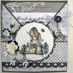 Annes lille hobbykrok: Stampavie, Mo Manning, Girl criss cross card, Distress Ink