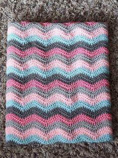 RIPPLE BABY BLANKET, Crochet Blanket, Baby Blanket, Ripple Blanket, Newborn Blanket, Chevron blanket, pink grey blue, baby girl blanket