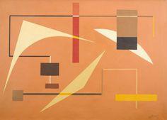 NORBERTO NICOLA (1930 - 2007) Título: Composição Técnica: óleo sobre tela Medidas: 50 x 70 cm Assinatura: canto inferior direito Data/Local: 1958