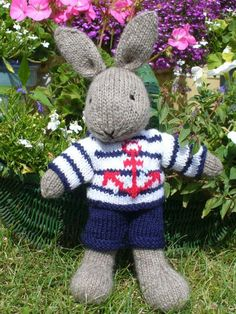 Bill sailor bunny rabbit with clothes PDF email knitting pattern. $3.99, via Etsy.