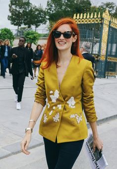 Taylor Tomasi Hill in Brock Collection spotted on the street at Paris Fashion Week. Photographed by Phil Oh.