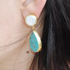 Turquoise and Pearl Earrings by toosis on Etsy, $92.00