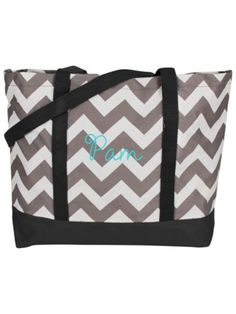 Gray Chevron Tote Bag with Gray Trim