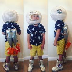 Have an astronaut costume contest.Rocket Astronaut Costume for kid Space Crafts For Kids, Space Preschool, Space Activities, Diy For Kids, Outer Space Costume, Outer Space Party, Outer Space Theme, Astronaut Party, Diy Astronaut Costume