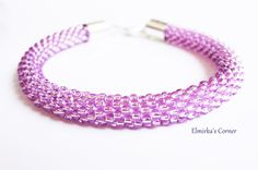 Lilac rose handmade bead bracelet see more: https://www.facebook.com/ElmirkasCorner/posts/851785501595537