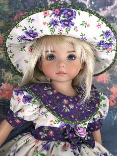 Love the purple dress and hat on this Effner Little Darling doll. Pretty Dolls, Cute Dolls, Beautiful Dolls, American Girl Dress, American Girl Clothes, Ag Doll Clothes, Doll Clothes Patterns, Ag Dolls, Girl Dolls